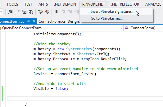 PInvoke.net Visual Studio Add-in screenshot 1
